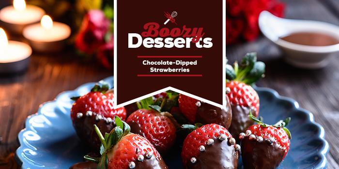 Boozy Chocolate Dipped Strawberries